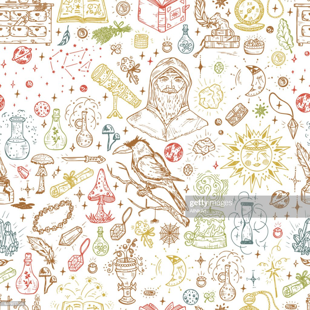 Alchemy Seamless pattern. Endless background with Hand Drawn Doodle Magic alchemical Symbols