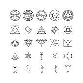 Alchemy Thin Line Icon Set. Vector
