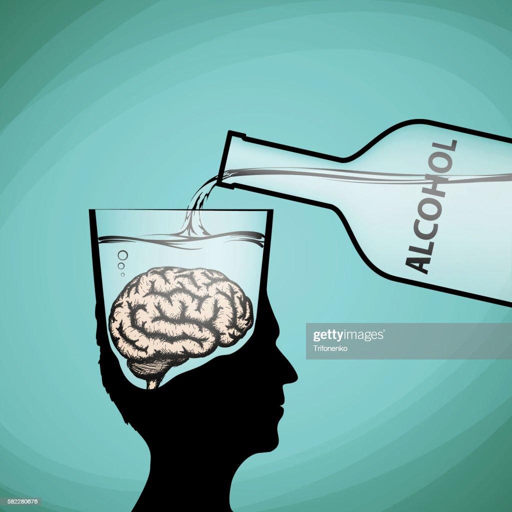 Alcohol addiction. Violation of brain functions.