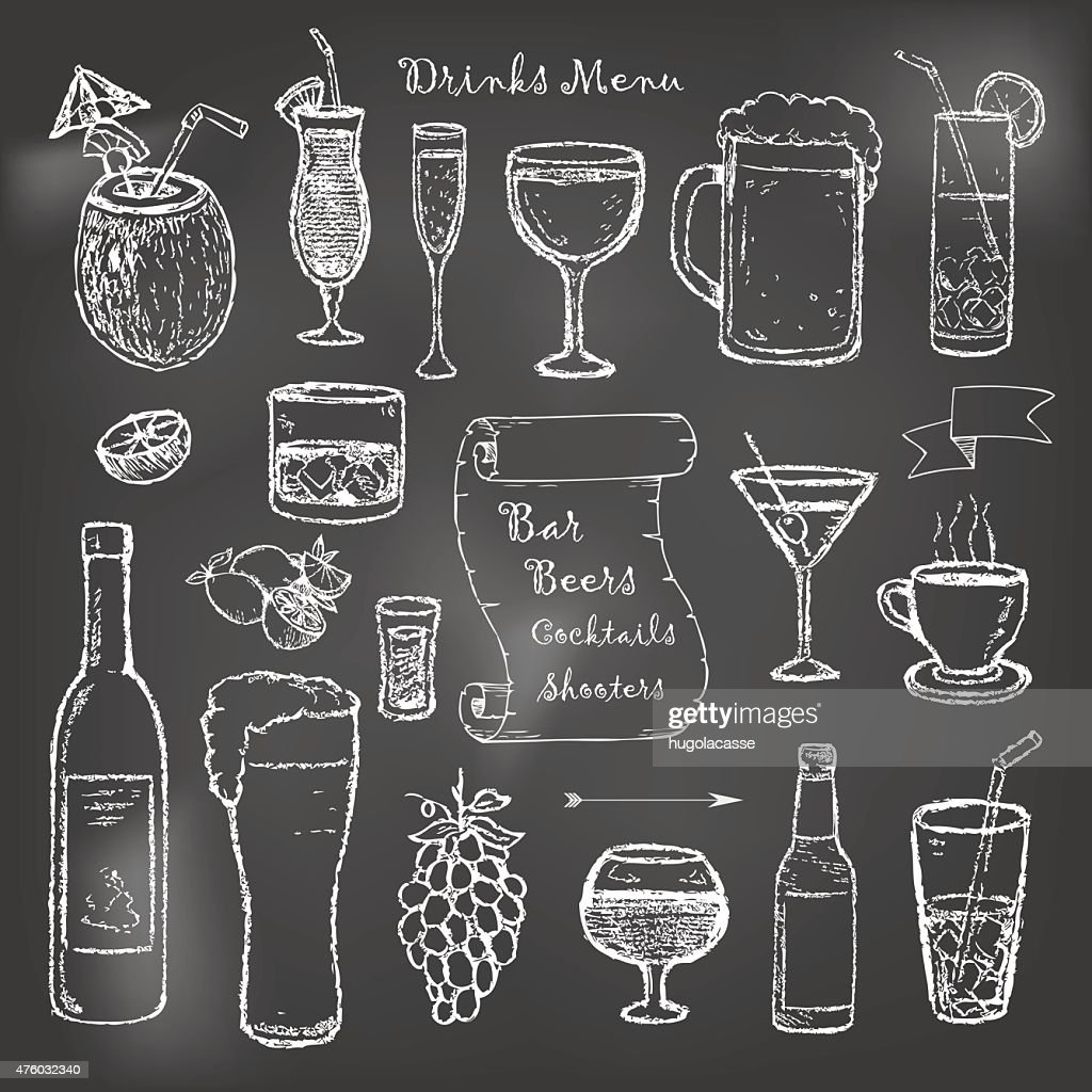 Alcohol and drinks cocktails menu on black board
