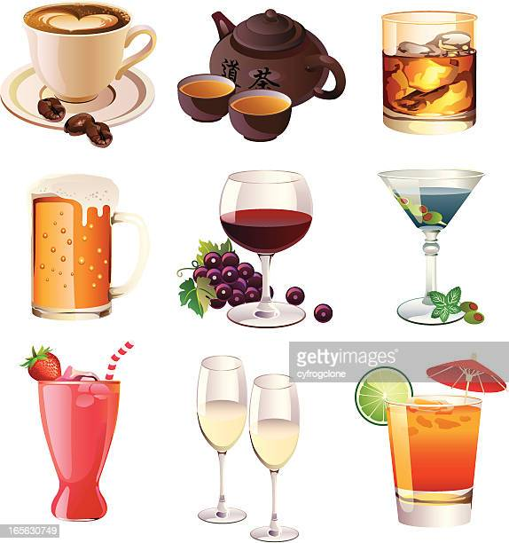 alcohol and non alcoholic drinks - juice drink stock illustrations, clip art, cartoons, & icons