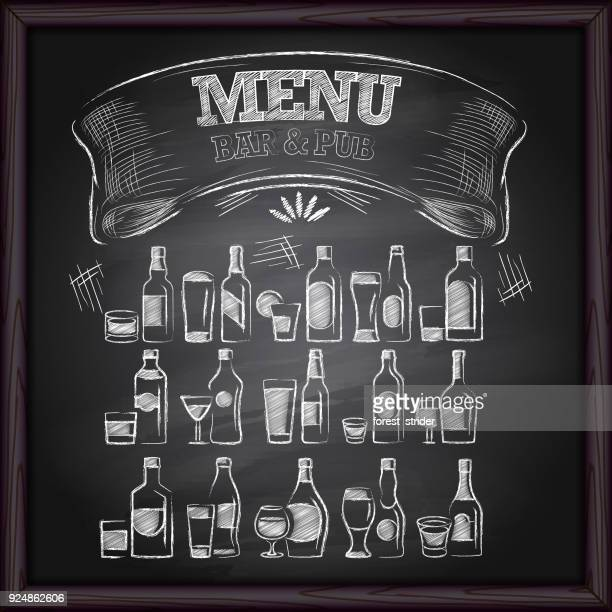 alcohol beer menu on chalkboard - chalk art equipment stock illustrations, clip art, cartoons, & icons