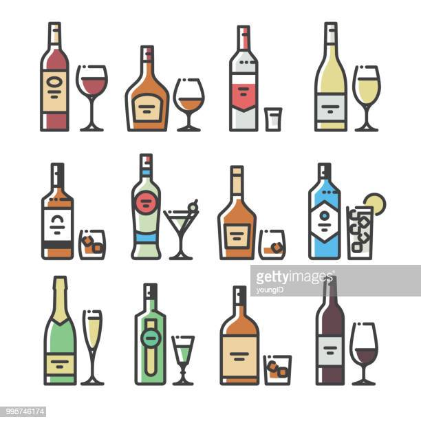 alcohol bottles and glasses - line art icons - shot glass stock illustrations, clip art, cartoons, & icons
