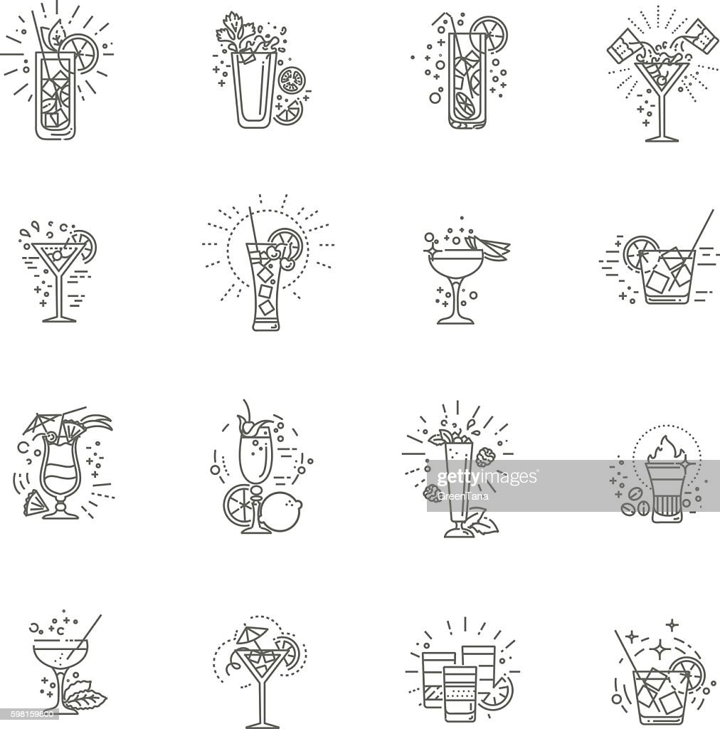 Alcohol drinks and cocktails icon set. Vector illustration
