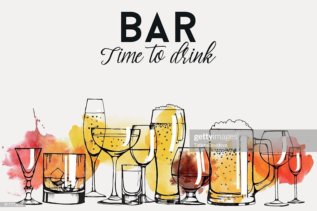 Alcohol drinks flyer design set