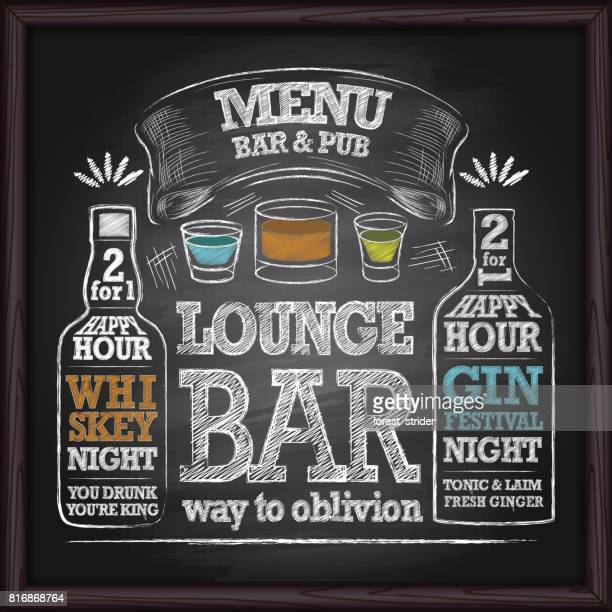 alcohol drinks menu on chalkboard - beer alcohol stock illustrations, clip art, cartoons, & icons