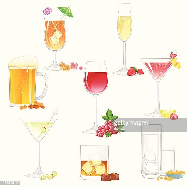 Alcohol bebidas conjunto