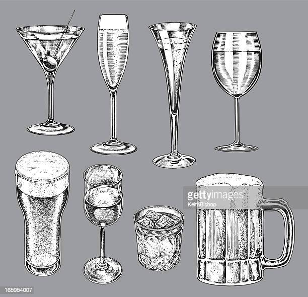 alcohol glasses - beer, wine, champagne, martini - pen and ink stock illustrations, clip art, cartoons, & icons