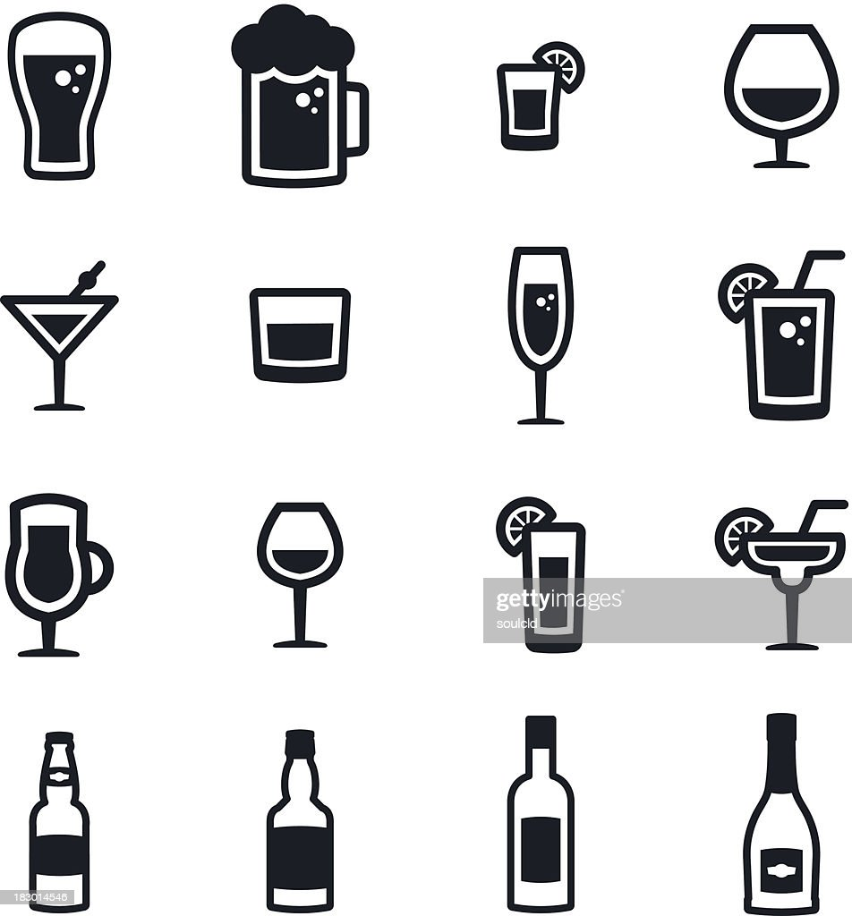 Alcohol Icons : stock illustration