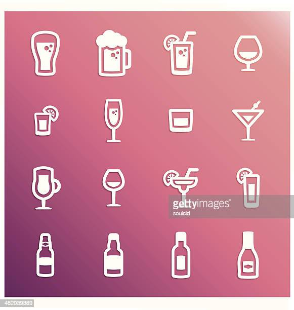 alcohol icons - juice drink stock illustrations, clip art, cartoons, & icons