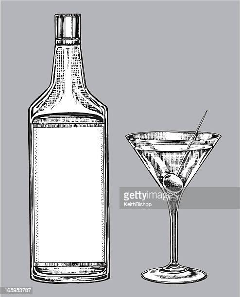 alcohol - martini glass and gin or vodka bottle - gin stock illustrations, clip art, cartoons, & icons