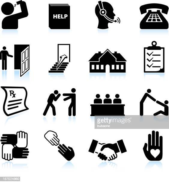 ilustrações de stock, clip art, desenhos animados e ícones de álcool de ajuda e reabilitação preto & branco vector conjunto de ícones - bebe chegando