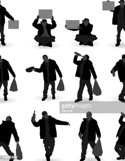alcoholic and trump silhouette - vagabond stock illustrations, clip art, cartoons, & icons