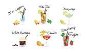 Alcoholic cocktails set, Blue lagoon, Mai Tai, Daiquiri, White Russian, Zombie, Strawberry mojito vector Illustration