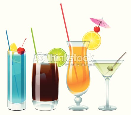 Alcoholic Drinks For Party Vector Art