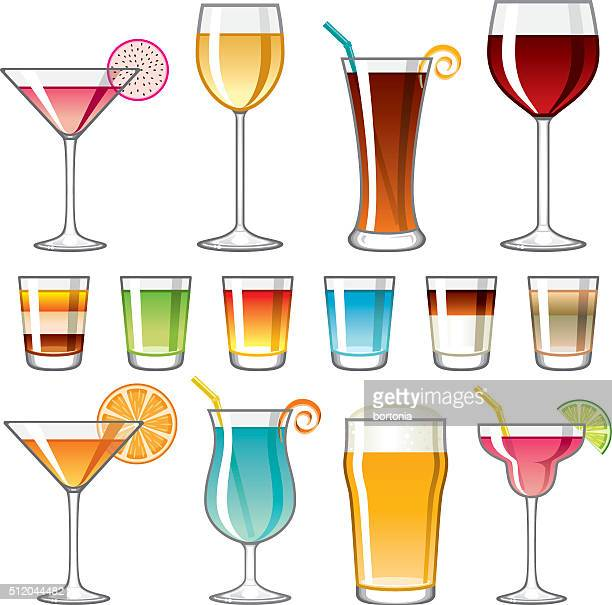 alcoholic drinks icon set - tequila drink stock illustrations, clip art, cartoons, & icons
