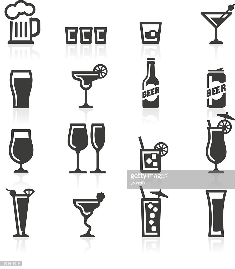Alcoholic drinks icons : stock illustration