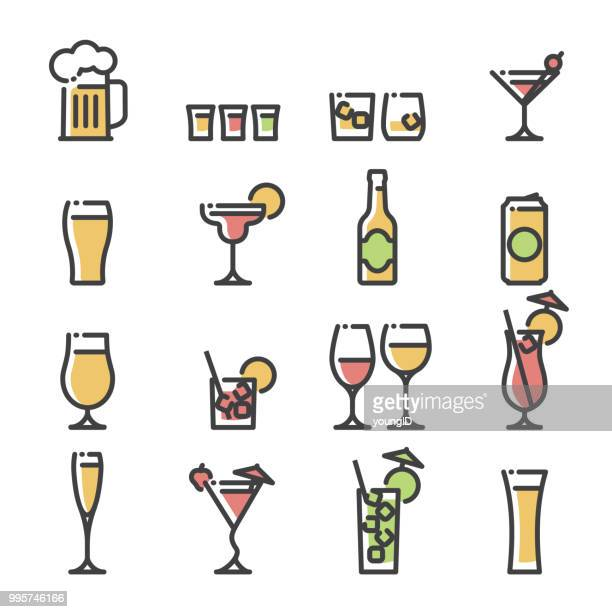 alcoholic drinks - line art icons - beer glass stock illustrations, clip art, cartoons, & icons