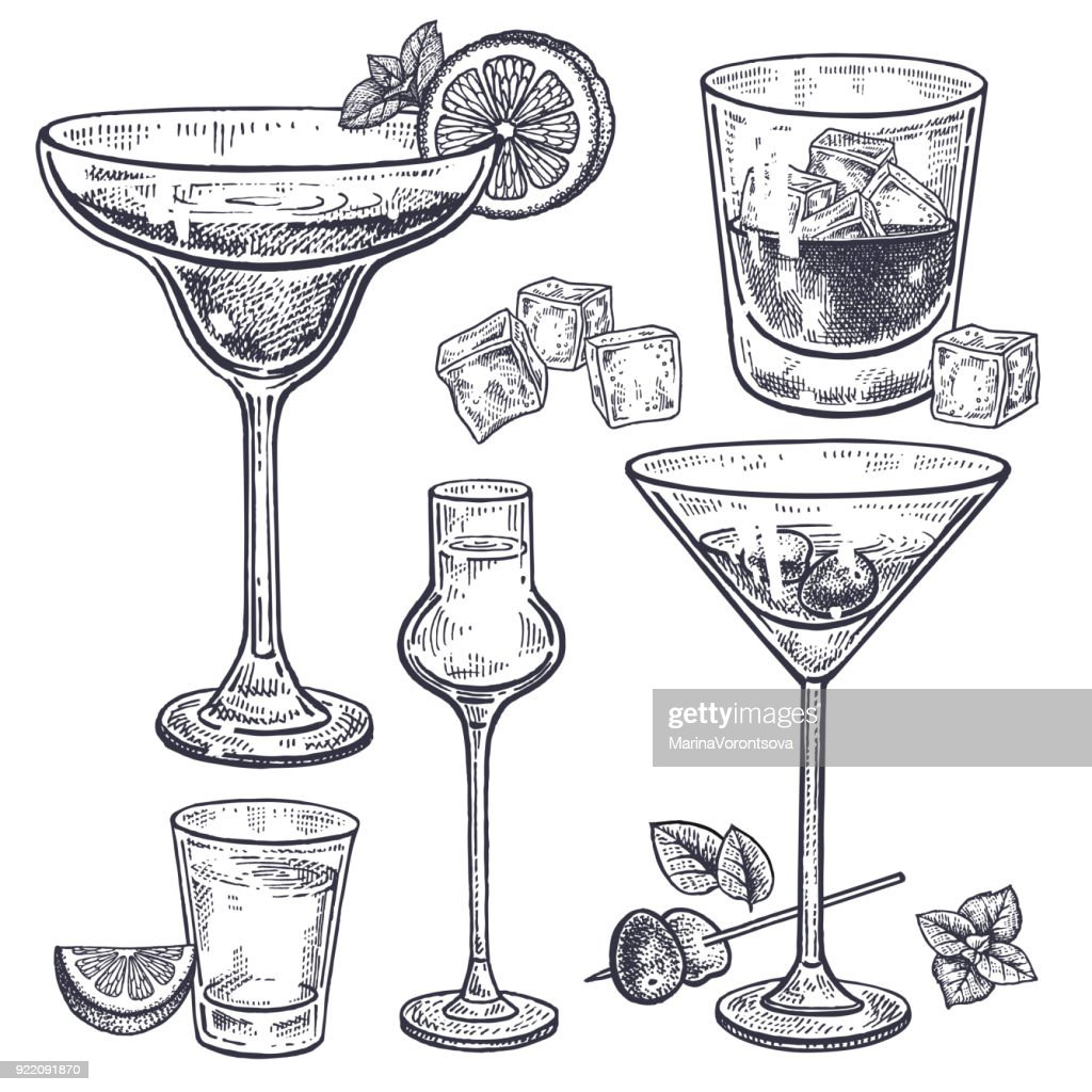 Alcoholic drinks set.