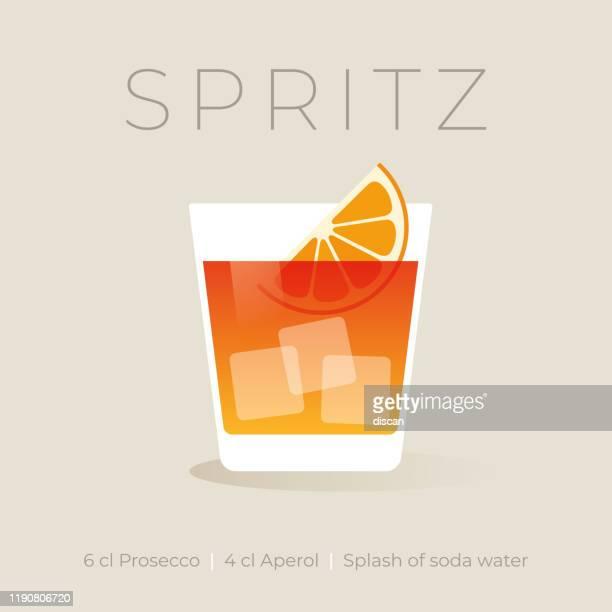 alkoholischer aperol spritz cocktail auf weißem hintergrund. - eisheilige stock-grafiken, -clipart, -cartoons und -symbole