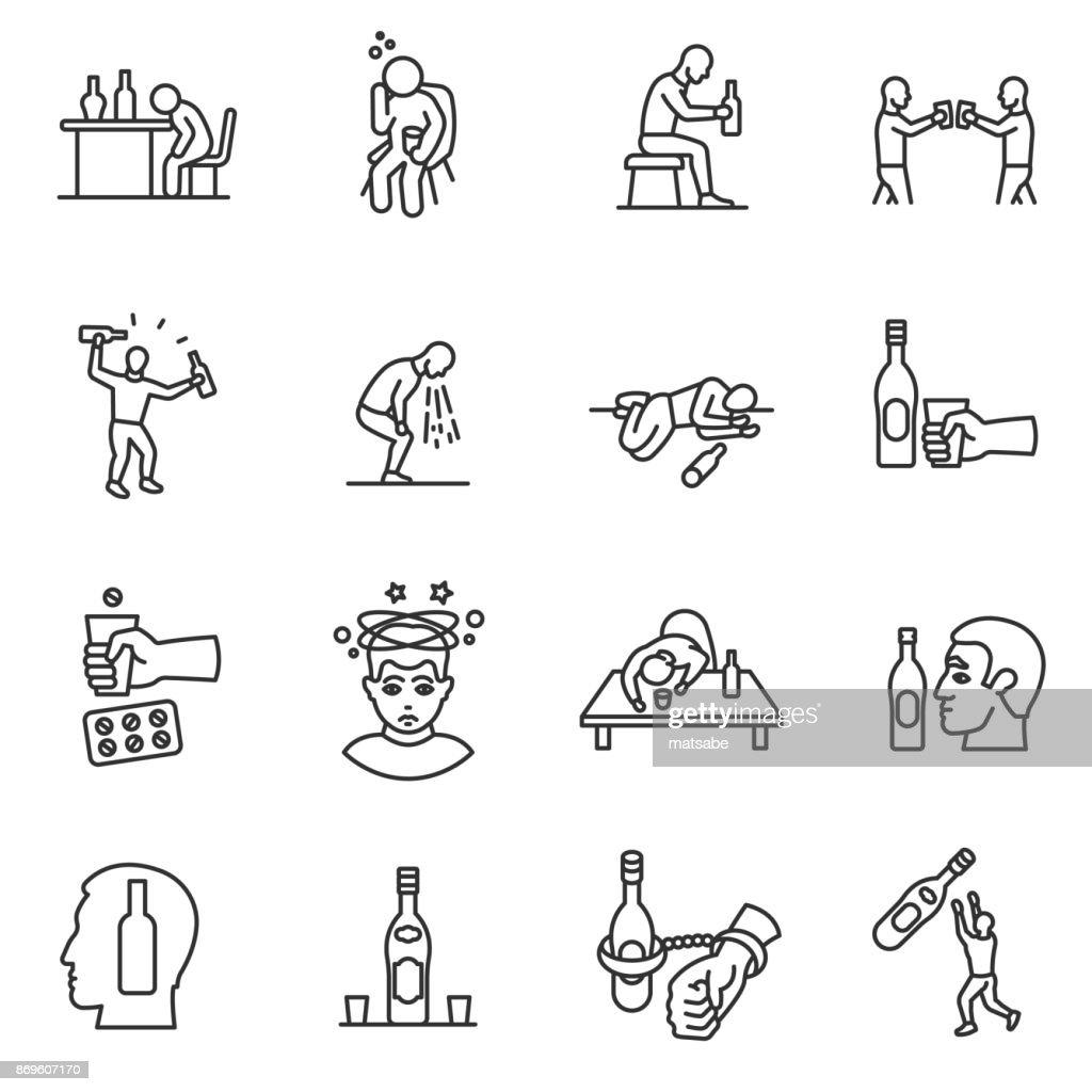 Alcoholism, drunkenness icons set. Editable stroke