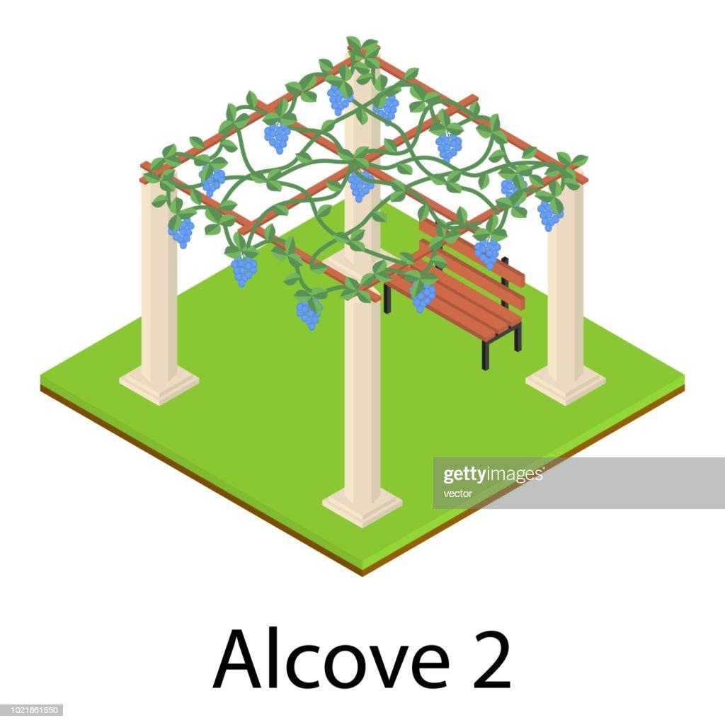 Alcove icon, isometric style