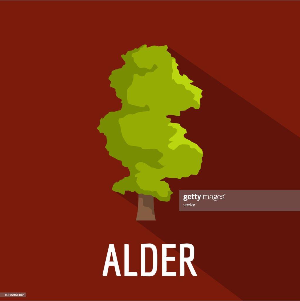 Alder tree icon, flat style