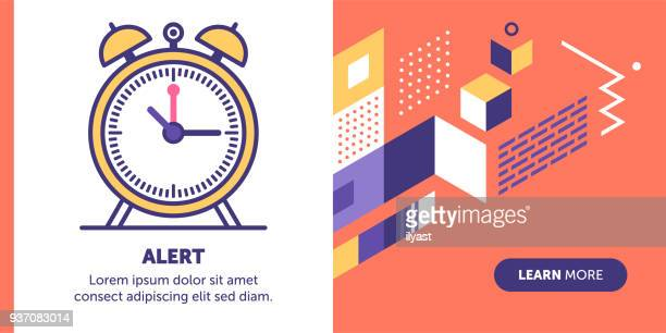 ilustrações de stock, clip art, desenhos animados e ícones de alert banner - acordar