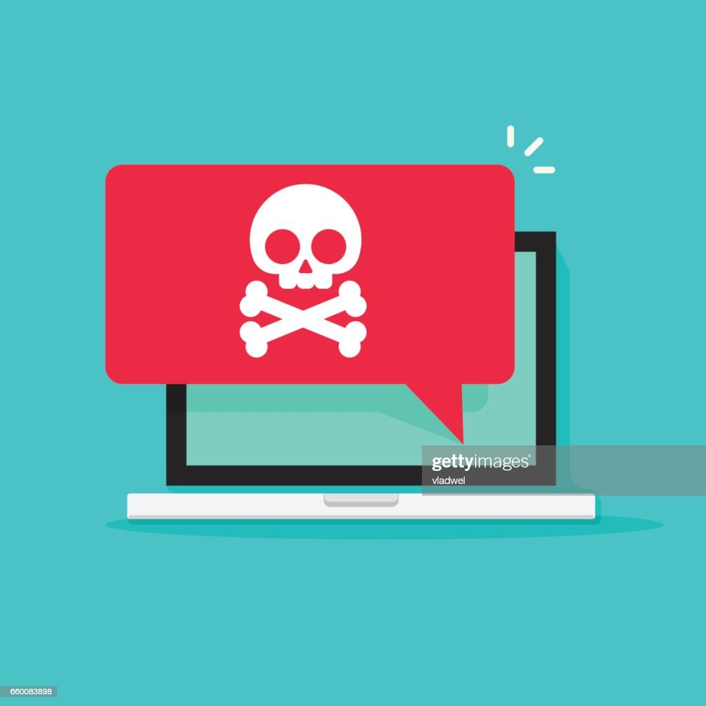 Alert notification on laptop computer vector, malware concept, spam data, online scam, virus