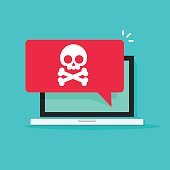 Alert notification on laptop computer vector, malware concept, spam data, online scam, virus