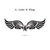 A-letter sign and angel wings.Monogram wing icon mockup.Classic emblem.Elegant dynamic alphabet letters with wings.Creative design element.Corporate branding identity.Flat web design wings icon.