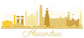Alexandria Egypt City Skyline Golden Silhouette.