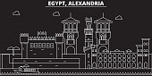 Alexandria silhouette skyline. Egypt - Alexandria vector city, egyptian linear architecture, buildings. Alexandria line travel illustration, landmarks. Egypt flat icon, egyptian outline design banner