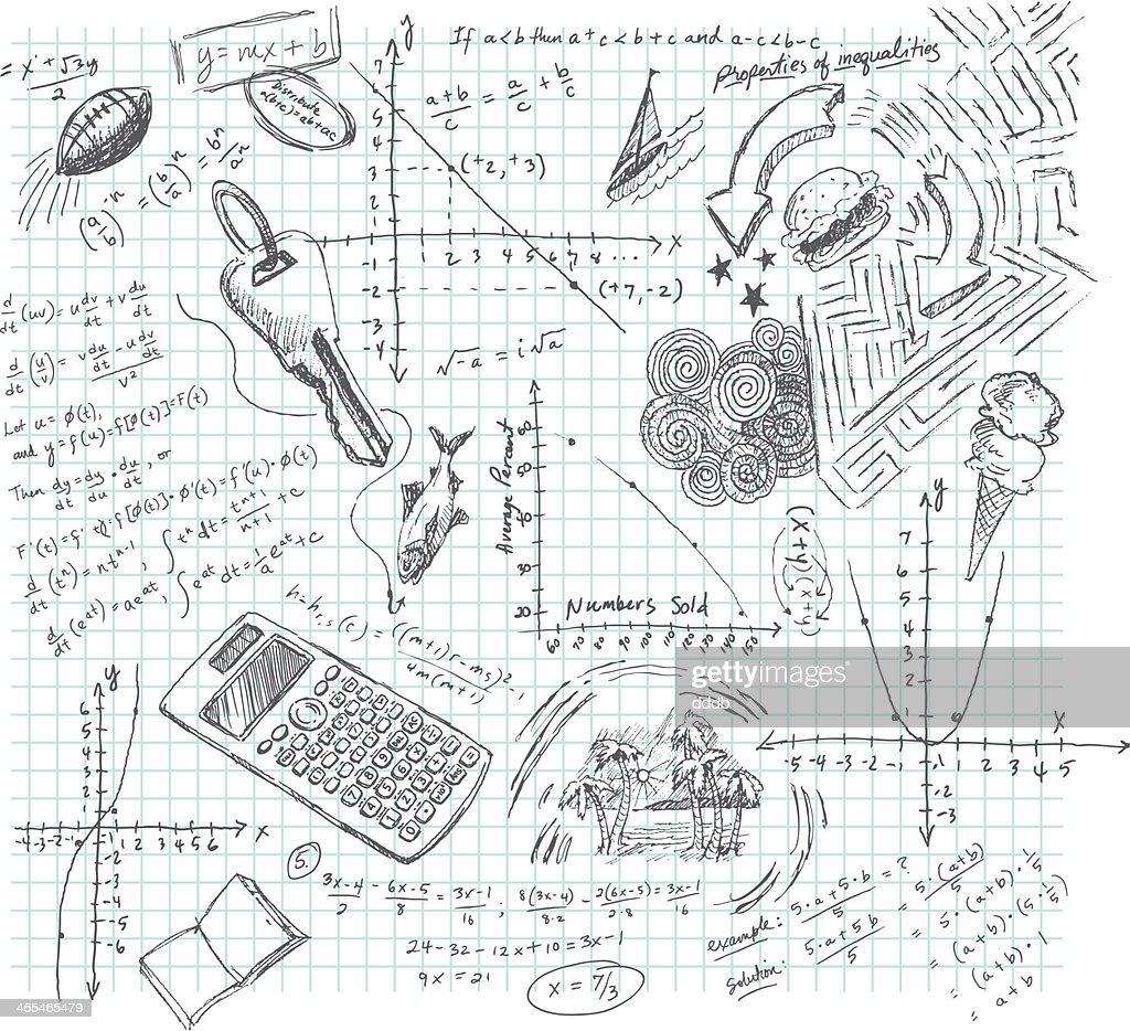 Algebra Class Daydream Doodle : stock illustration