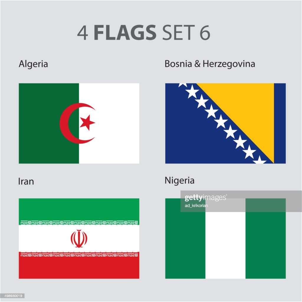 Algeria, Bosnia, Iran and Nigeria Flags (vector Art)