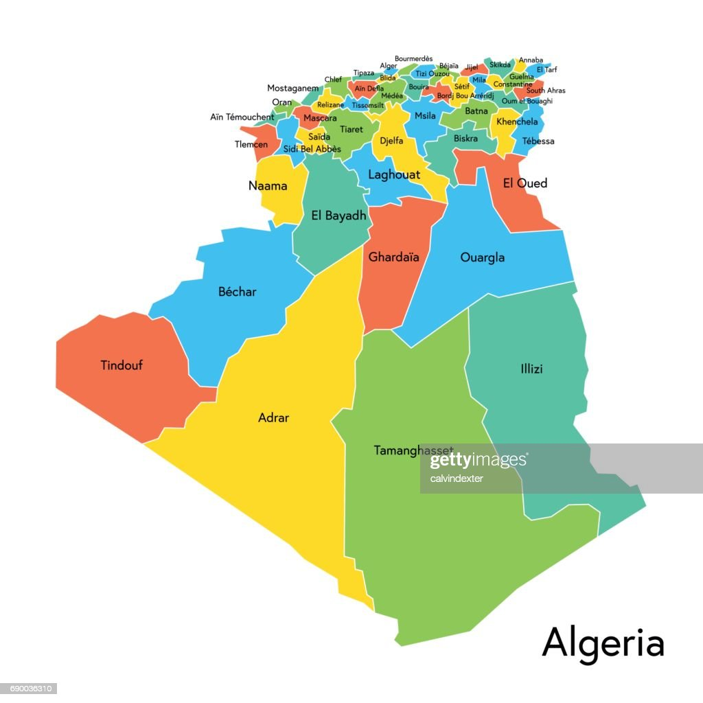 Algeria Color Map With Regions And Names Vector Art Getty Images