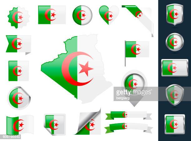 Algeria Flag Set. Glossy Icons Collection