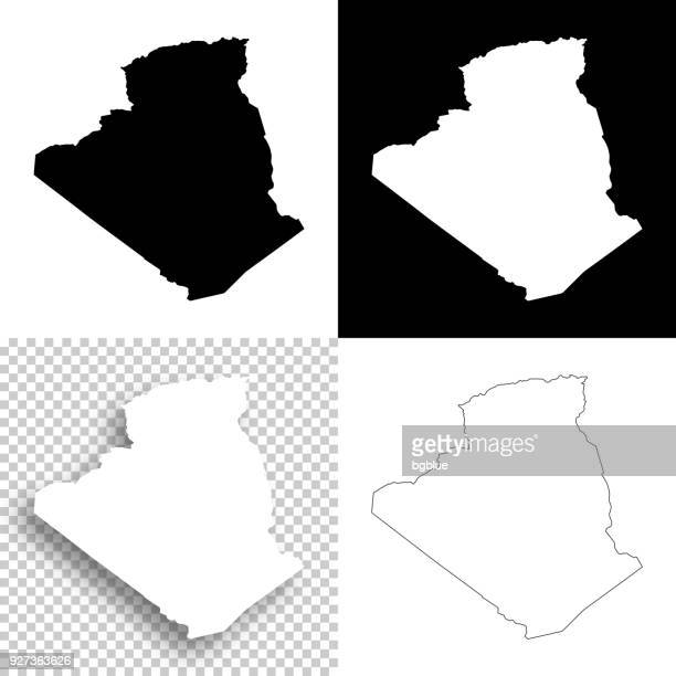 algeria maps for design - blank, white and black backgrounds - algeria stock illustrations