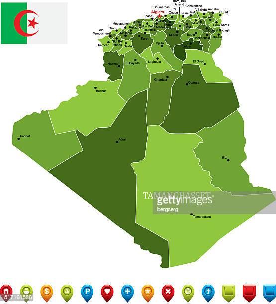 illustrations, cliparts, dessins animés et icônes de algérie-illustration de vecteur de carte - algeria