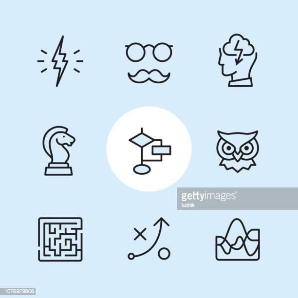 algorithmen - gliederung-icon-set - dozenten stock-grafiken, -clipart, -cartoons und -symbole