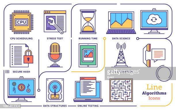 algorithms & software technology vector line icon set - hard drive stock illustrations