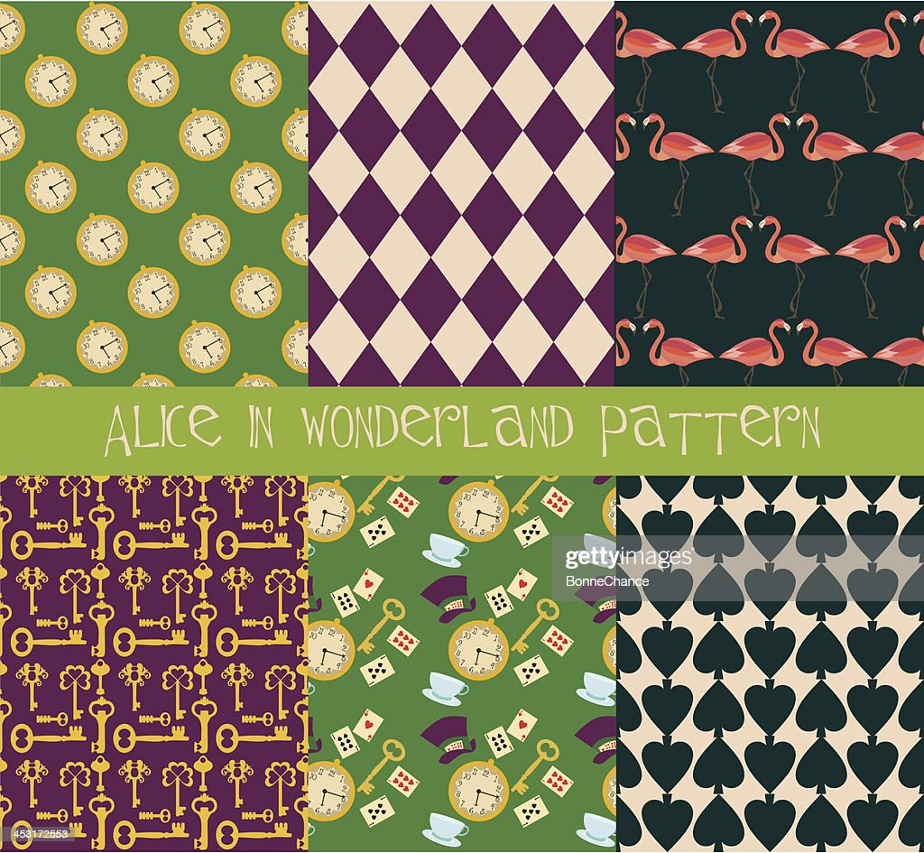 Alice in Wonderland pattern set