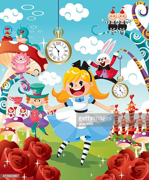 ilustraciones, imágenes clip art, dibujos animados e iconos de stock de alice in wonderland - reloj de bolsillo
