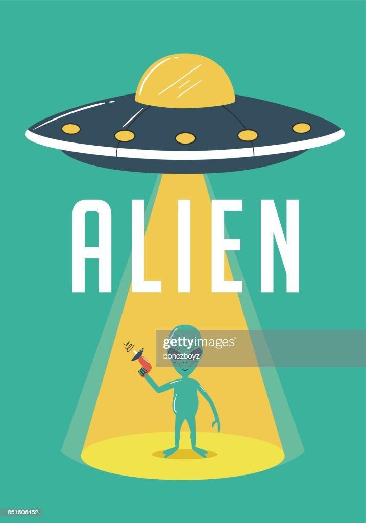 Alien and UFO Illustration