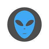 Alien face emoji. Martian head icon. Vector