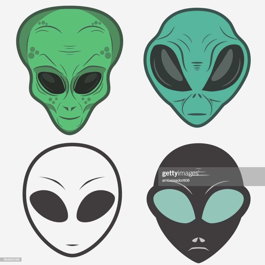 Alien face icon set, humanoid head, vector