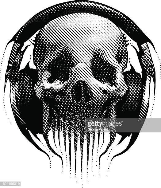 alien hipster skull listening to headphones - punk person stock illustrations, clip art, cartoons, & icons