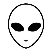 Alien icon face with large eyes isolated on white background. Extraterrestrial humanoid head