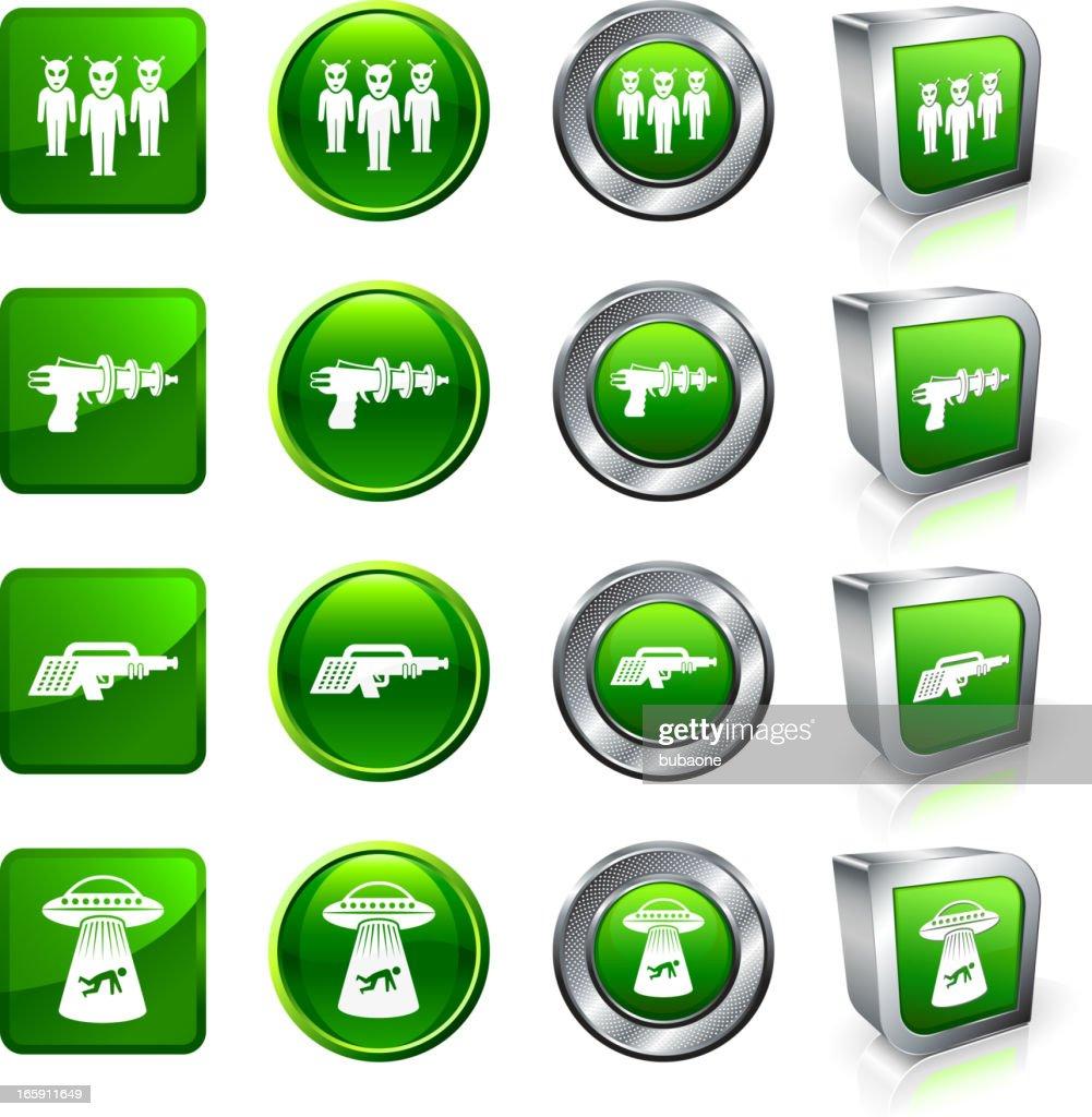 Alien Invasion royalty free vector button set