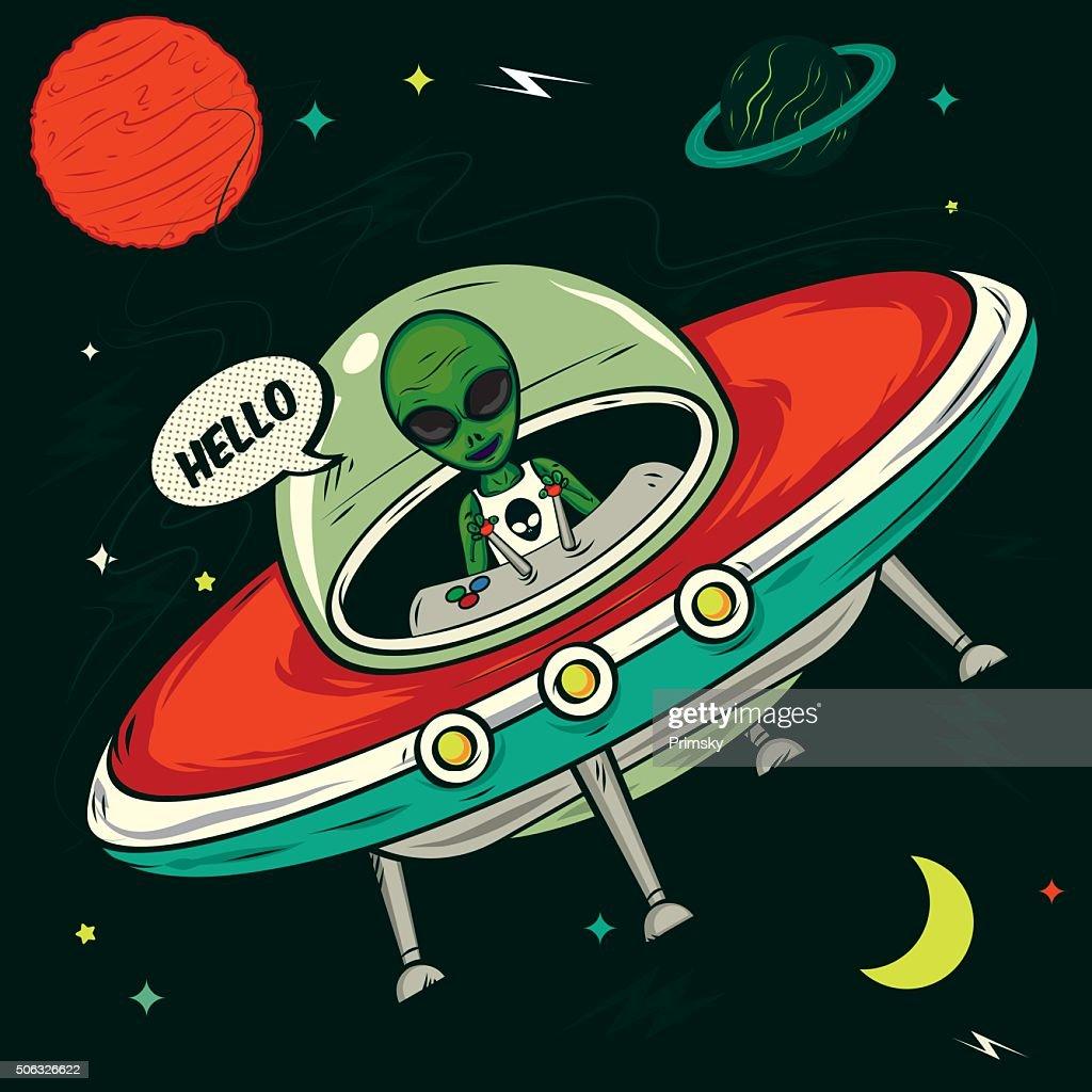 Alien invasion vector illustration